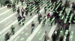 Living in a data matrix city. - stock footage
