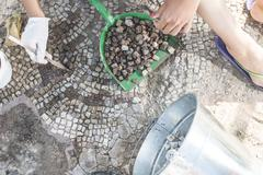 Archaeologists recover artifacts mosaic. Stock Photos