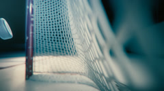Ice Hockey Net With Puck In Goal - stock footage