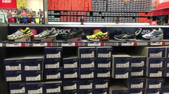 Shoes at a sports store Stock Footage