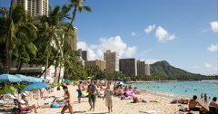 Waikiki beach resort in Hawaii time-lapse - stock footage
