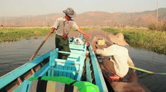 Sell Fish Inle Lake Boat Traditional Stock Footage