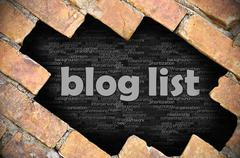Hole in the brick wall with word blog list - stock photo