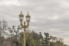 Antique City Lights and Nature at Recoleta Park in Buenos Aires - stock photo