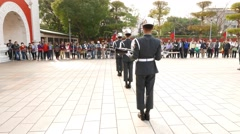 Soldiers in line, rifle clatter, rotate and flip, honour guard change ceremony Stock Footage
