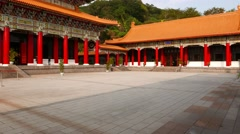 Courtyard, red columns, traditional taiwanese architecture, Martyr's Shrine Stock Footage