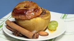 Dessert. Baked apple Stock Footage