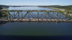 Aerial view of the Agate Pass Bridge - Seattle, Bainbridge Island - stock footage