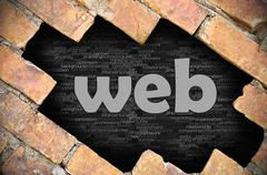 Hole in the brick wall with word web - stock photo