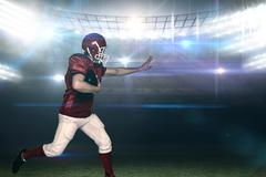 Composite image of american football player running with the ball - stock photo