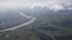 Countryside aerial in Poland with Vistula river Stock Footage
