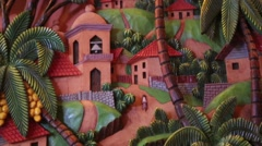 Close up of decorative clay Central American village (HD) Stock Footage