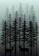 Winter forest, vector Stock Illustration