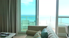 Person pov walking out to the balcony in the hotel room. Stock Footage
