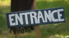 Entrance Sign at Summer Camp Stock Footage