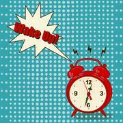 Alarm clock in pop art style Stock Illustration