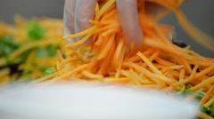 Chef Preparing Fresh Salad Stock Footage