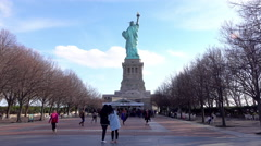 Back of Statue of Liberty on Island 4k Stock Footage