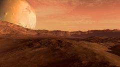 Red planet with Mars-like moon - stock illustration