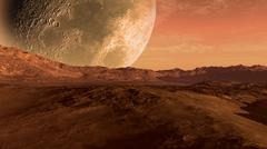 Stock Illustration of Mars like red planet with Moon