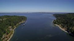 Flight over Eagle Harbor Marina, in foreground Seattle - Bainbridge Island Stock Footage