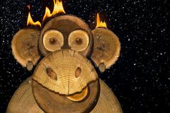 Portrait of a New Years fire monkey. - stock photo