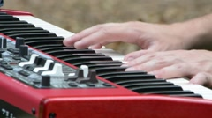 Man Playing Piano at Wedding Service Extreme Closeup Stock Footage