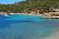 Cala Salada beach in San Antonio, in Ibiza Island, Spain Stock Photos