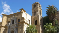 The Martorana or church of Santa Maria dell'Ammiraglio, Palermo, Sicily, Italy. Stock Footage