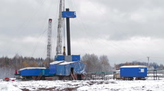 Oil Drilling rig Winter Stock Footage