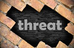 Hole in the brick wall with word threat - stock photo
