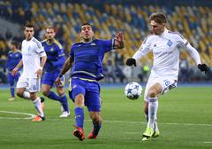 UEFA Champions League game FC Dynamo Kyiv vs Maccabi Tel-Aviv - stock photo