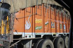Traditionally decorated indian truck - stock photo