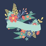 Nature flowers wreath with flowers, foliage ribbons Stock Illustration