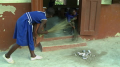 PAKRO STUDENTS SWEEPING Stock Footage