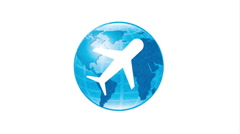 World and airplane icon design, Video Animation Stock Footage