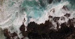 Aerial bir's eye view of ocean beach from above Stock Footage