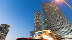 High rise buildings in Tel-Aviv - Day to night time lapse Stock Footage