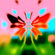 Abstract colorful butterfly on blurry nature-like background. Art deco style. - stock illustration