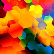 Psychedelic colourful hexagon geometry. Stylish ornate decor. Artistic backdrop. Stock Illustration