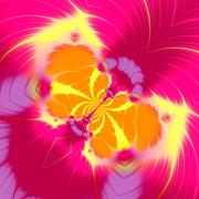 Abstract butterfly fractal illustration in pink yellow color. Fine modern dec - stock illustration