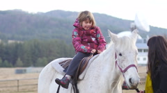 Close contact horse in rehabilitation center for kids with retarded development - stock footage