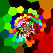 Distorted hexagons in full color spectrum. Dynamic ornate back. Bright colors Stock Illustration
