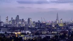 Timelapse aerial view of the skyline of the City of London - stock footage