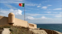 Flying the Portuguese Flag Stock Footage