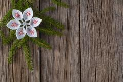Felt decoration on rustic wooden background Stock Photos