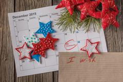 Calendar with marked date of christmas day Stock Photos