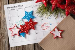 Calendar with marked date of christmas day - stock photo