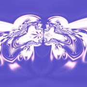 Psychedelic art, two people kissing. Computer art concept. Design in blue ton Piirros