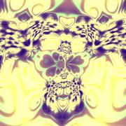 Bright psychedelic skull fractal. Insane mad splat. Unreal magic style. Desig Stock Illustration